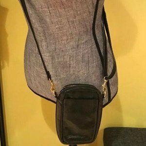 Unisex Black Crossbody Leather Travel Phone Bag